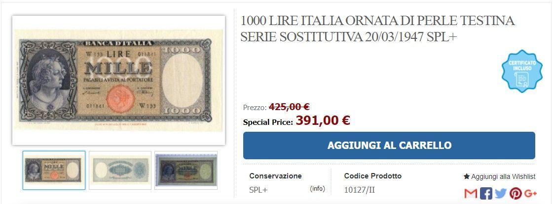1.000 lire che vale 400 euro